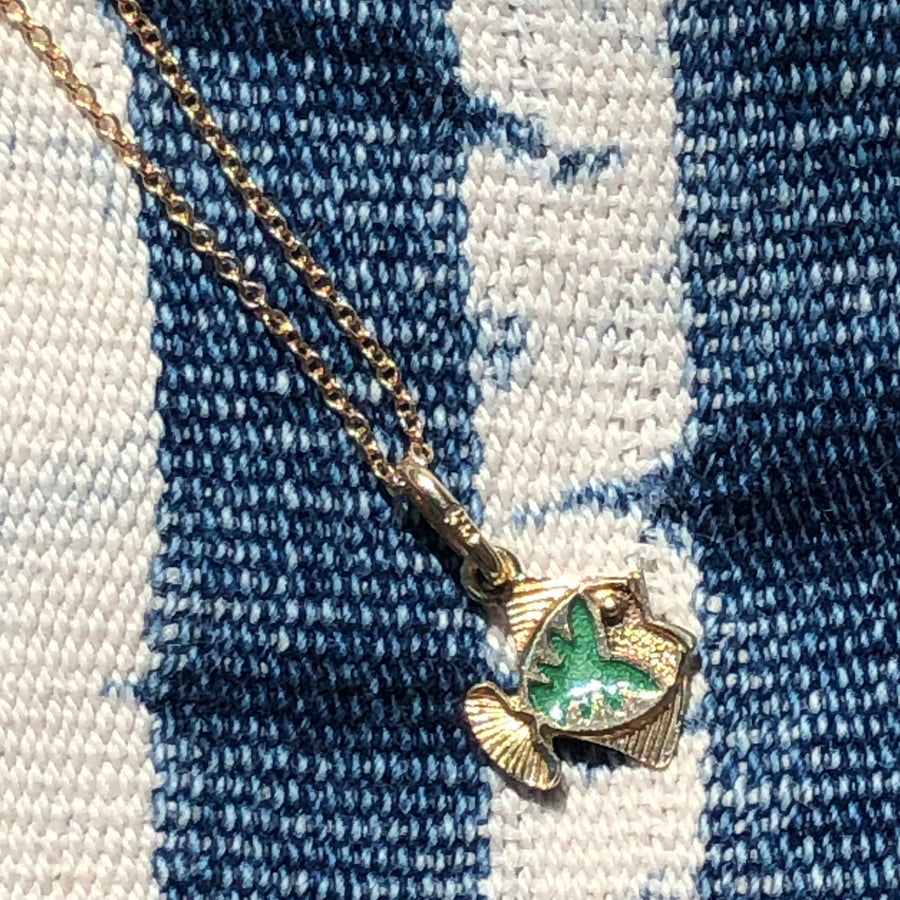 Green Enamel Fish Necklace
