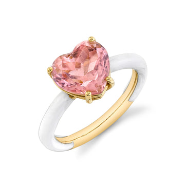 Heart Cut Gemstone Enamel Ring - Pink Tourmaline
