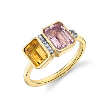 Large Mash Up Ring - Citrine/Morganite