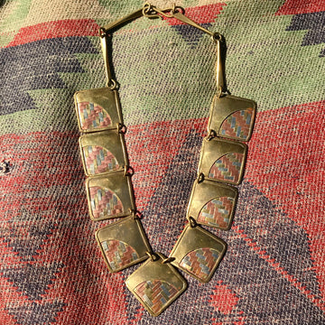 Mixed Metal Woven Collar Necklace