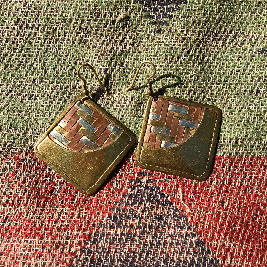 Mixed Metal Woven Earrings