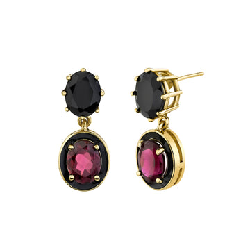 North South Enamel Mash Up Earrings - Spinel/Rhodolite