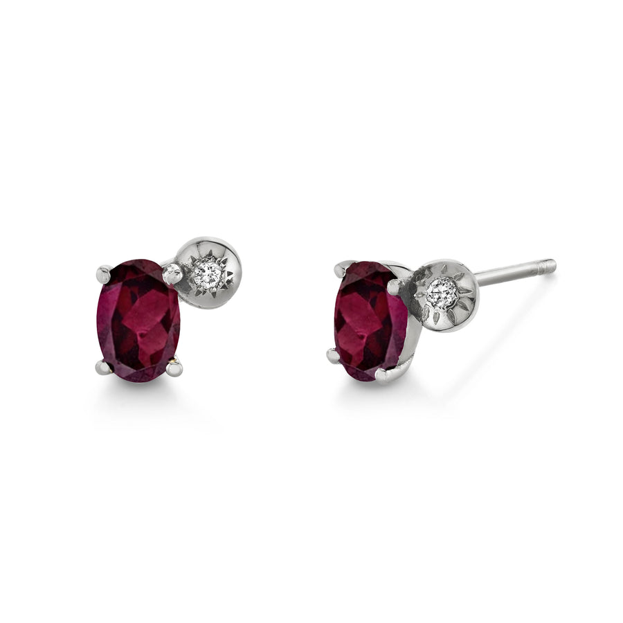 Single Oval Gemstone & Diamond Starburst Stud - Right