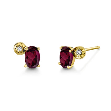 Oval Gemstone & Diamond Starburst Studs
