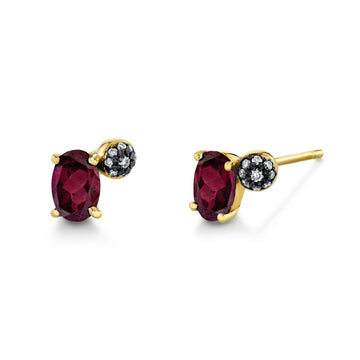 Single Oval Gemstone & Pave Ball Stud - Right