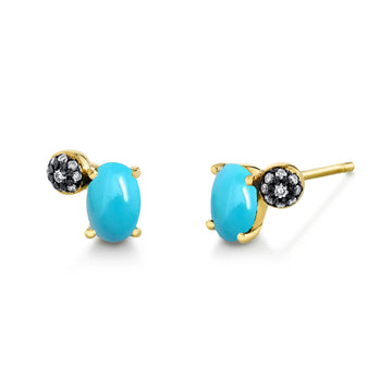 Oval Gemstone & Pave Ball Studs