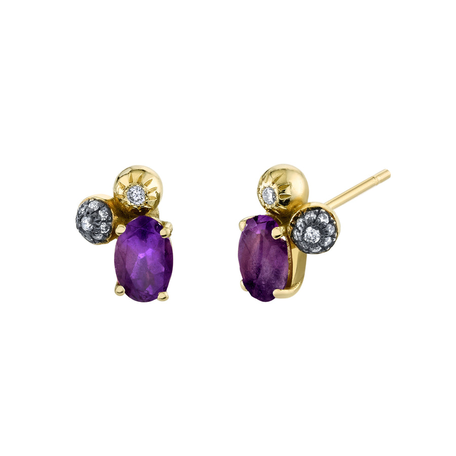 Oval Gemstone Mash Up Studs