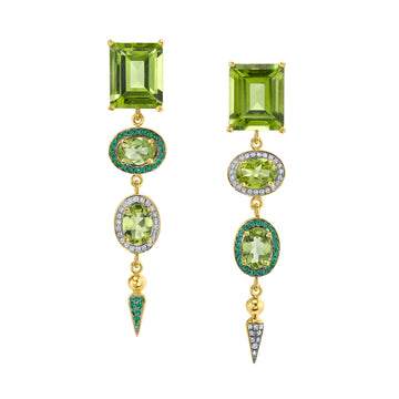 Pakistan Peridot Shirley Spear Cocktail Earrings