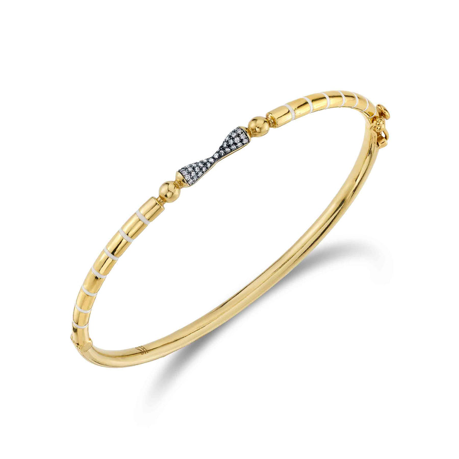 Pave & Enamel Stripe Shirley Spear Hinge Bangle - Diamond