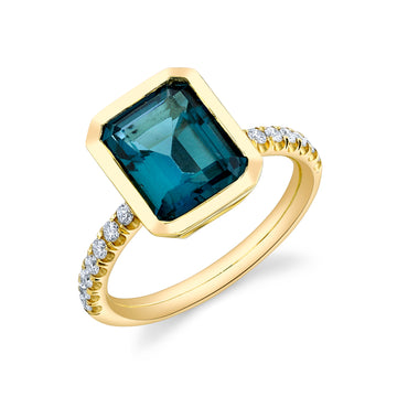 Pave Shirley Bezel Set Emerald Cut Ring - London Blue Topaz