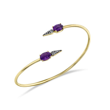 Pave Spear Twist Bangle - Diamond