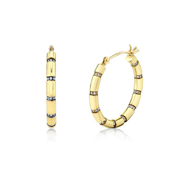 Pave Striped Hoops - Diamond