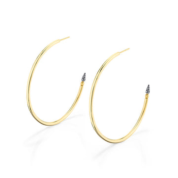 Shirley Pave Spear Hoops - Diamond