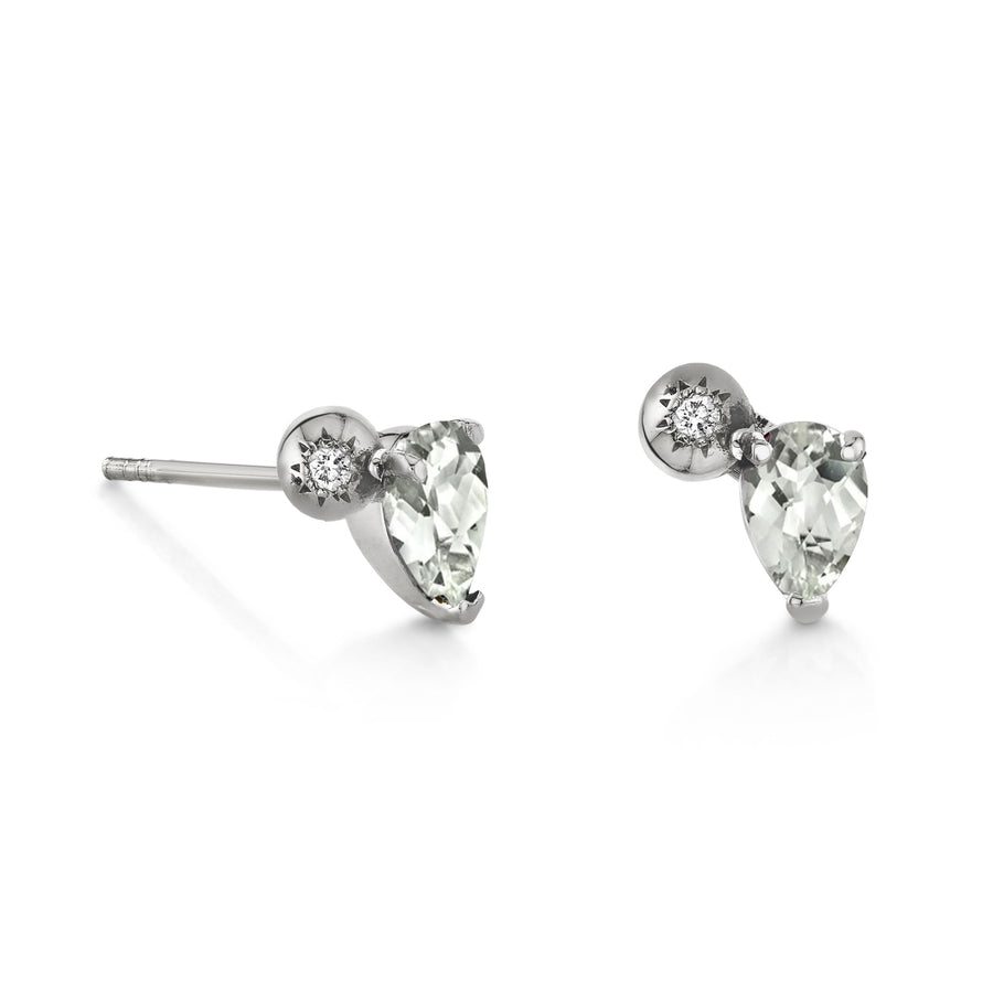 Single Pear Gemstone & Diamond Starburst Stud - Left