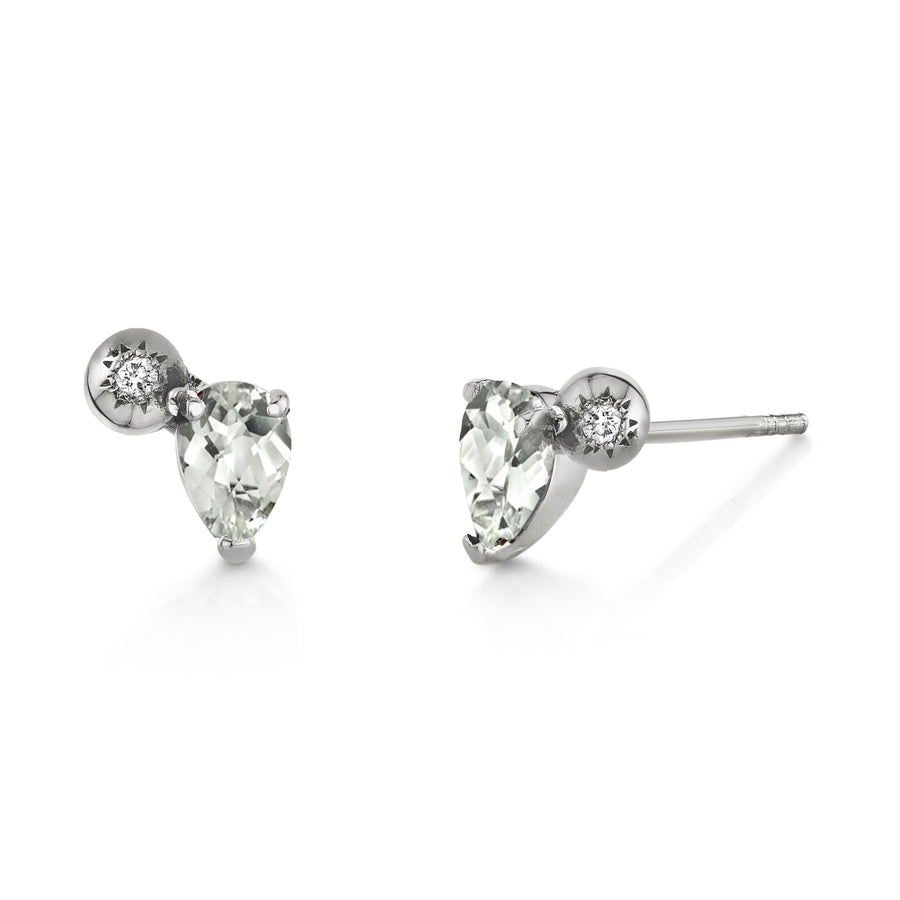 Pear Gemstone & Diamond Starburst Studs