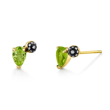 Single Pear Gemstone & Pave Ball Stud - Right