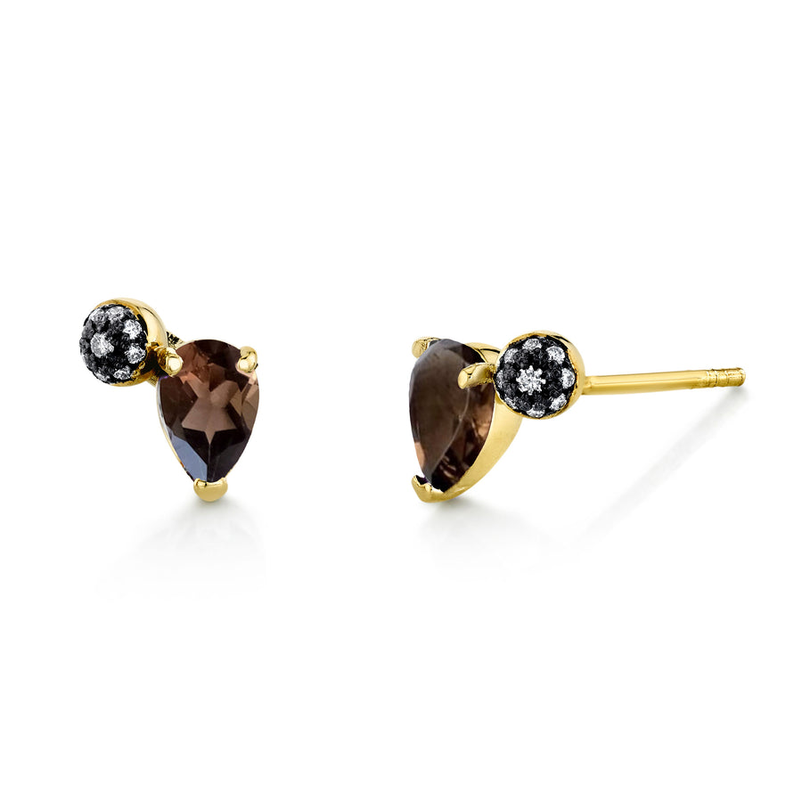 Pear Gemstone & Pave Ball Studs