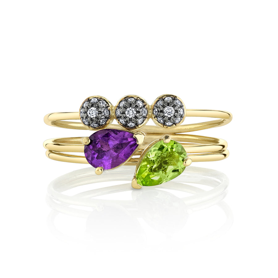 Pear Tres Stacking Ring Set
