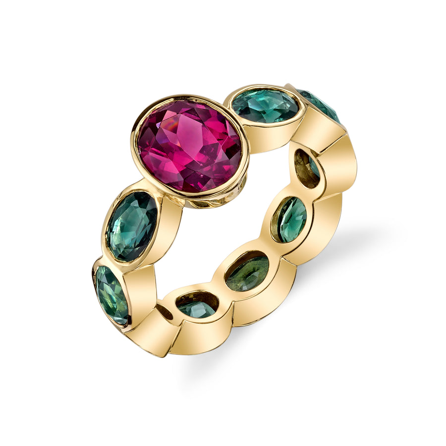 Rhodolite & Green Sapphire Bezel Set Eternity Band