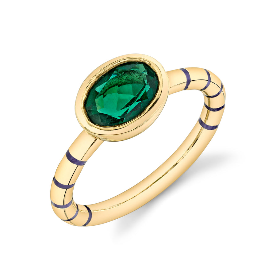 Shirley Bezel Set Striped Enamel Ring