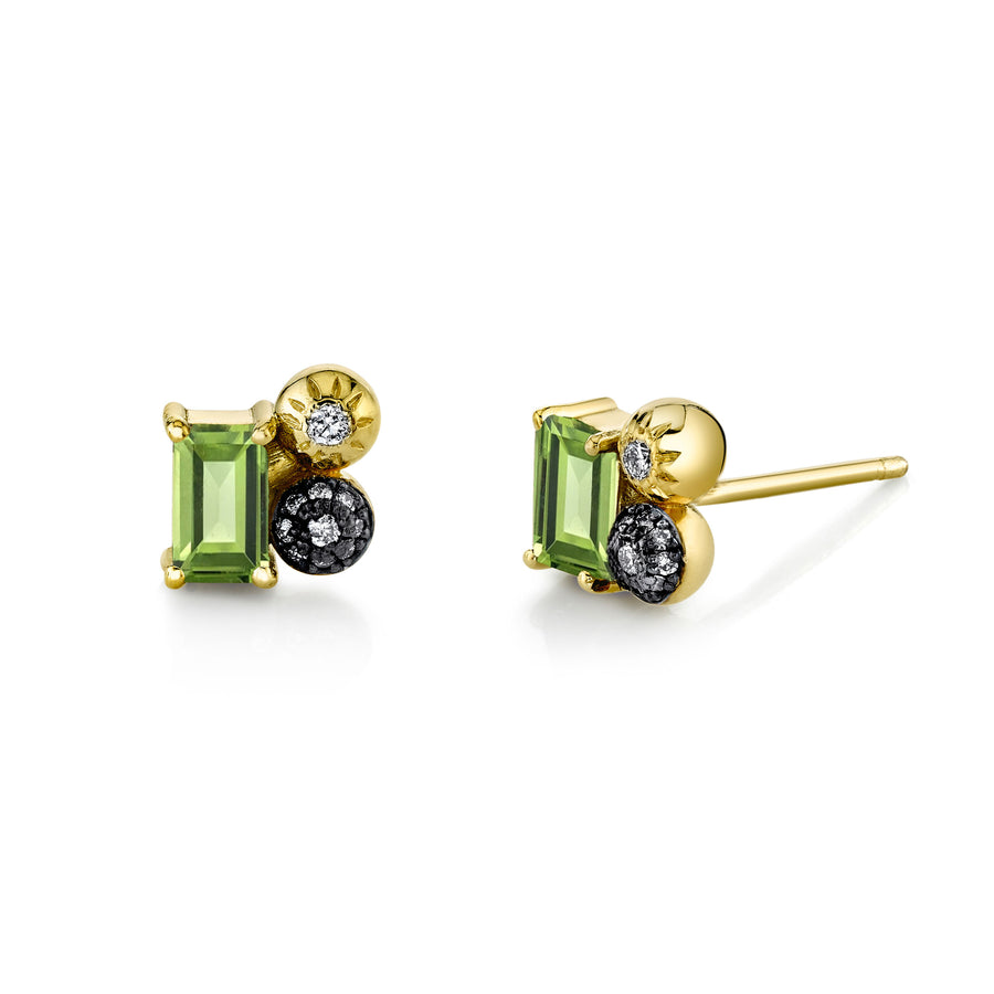 Single Emerald Cut Gemstone Mash Up Stud - Right