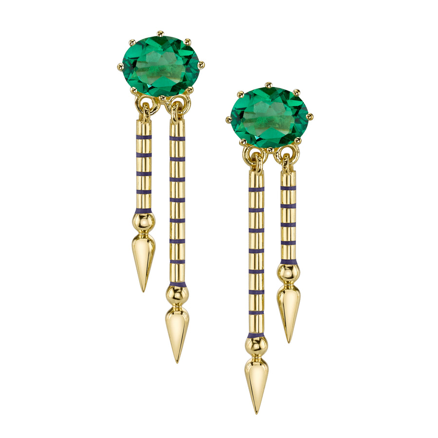 Single Gemstone Double Shirley Spear Earrings