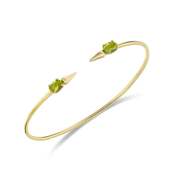Spear Bangle with Gemstones - Peridot