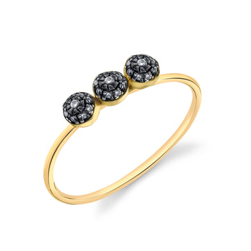 Triple Pave Ball Stacking Ring - Diamond