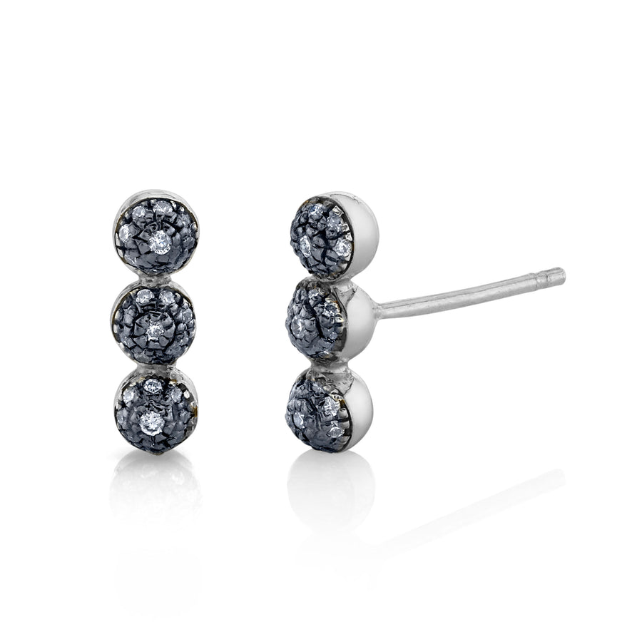 Single Triple Pave Ball Stud - Diamond