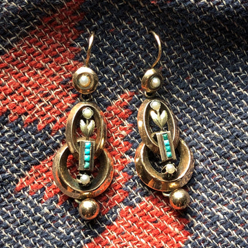 Victorian Pearl & Turquoise Earrings