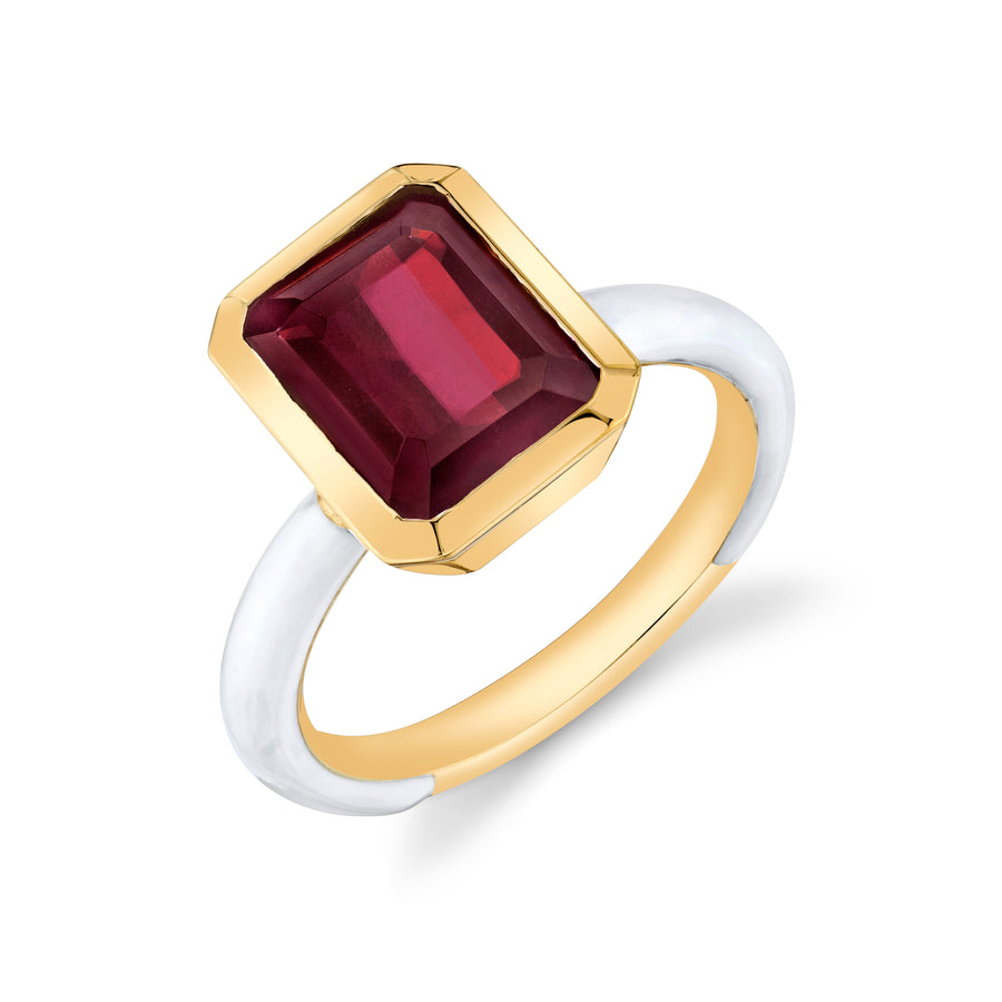 Emerald Cut Gemstone Enamel Ring
