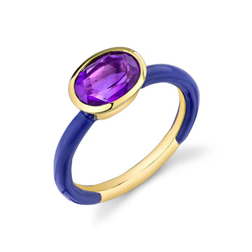 Oval Cut Gemstone Bezel Set Enamel Ring