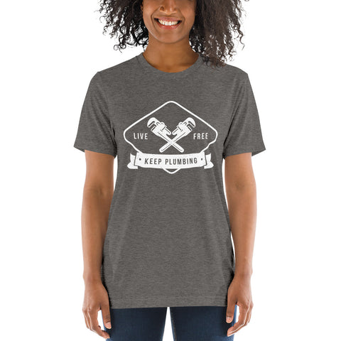 Keep Plumbing - Bella + Canvas 3413 Unisex Triblend Short Sleeve T-Shirt with Tear Away Label