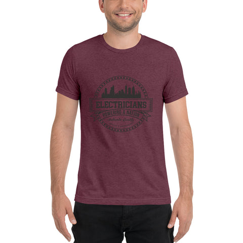 Electricians Powering a Nation - Bella + Canvas 3413 Unisex Triblend Short Sleeve T-Shirt with Tear Away Label