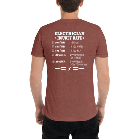 Image of Electrician Hourly Rate - Bella + Canvas 3413 Unisex Triblend Short Sleeve T-Shirt with Tear Away Label