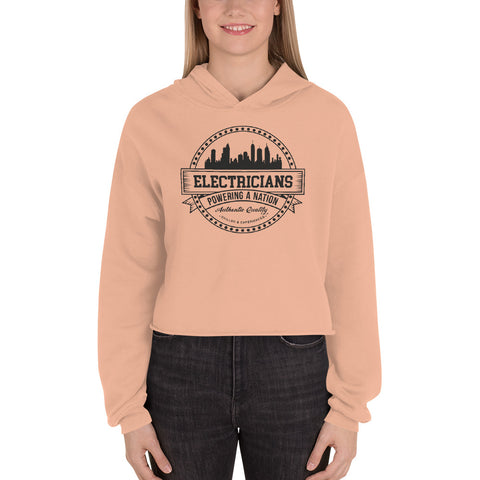 Electricians: Powering a Nation - Bella + Canvas 7502 Women's Fleece Crop Hoodie