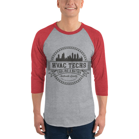 HVAC Techs: Cooling a Nation - Tultex 245 Unisex Fine Jersey Raglan Tee w/ Tear Away Label