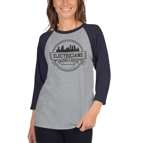 Electricians: Powering a Nation - Tultex 245 Unisex Fine Jersey Raglan Tee w/ Tear Away Label