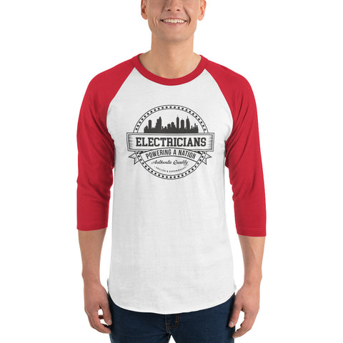 Electricians Powering a Nation - Tultex 245 Unisex Fine Jersey Raglan Tee w/ Tear Away Label