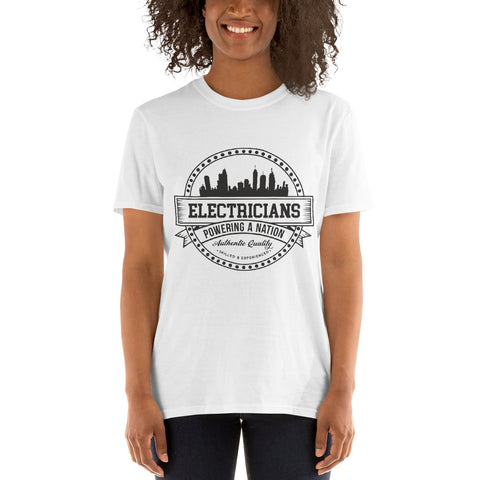 Electricians: Powering a Nation - Gildan 64000 Unisex Softstyle T-Shirt with Tear Away Label