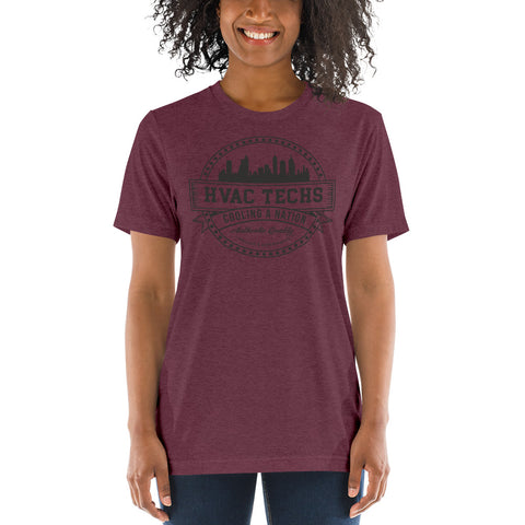 HVAC Techs: Cooling a Nation - Bella + Canvas 3413 Unisex Triblend Short Sleeve T-Shirt with Tear Away Label