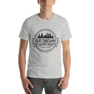 Electricians Powering a Nation - Bella + Canvas 3001 Unisex Short Sleeve Jersey T-Shirt with Tear Away Label