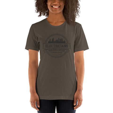 Electricians: Powering a Nation - Bella + Canvas 3001 Unisex Short Sleeve Jersey T-Shirt with Tear Away Label