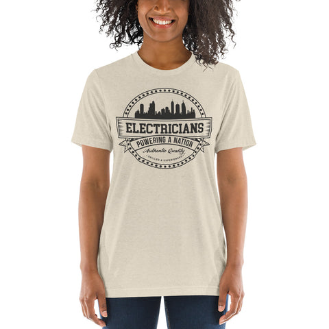 Electricians: Powering a Nation - Bella + Canvas 3413 Unisex Triblend Short Sleeve T-Shirt with Tear Away Label