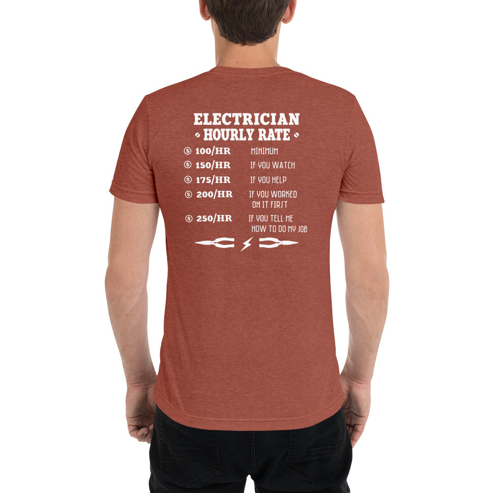Electrician Hourly Rate - Bella + Canvas 3413 Unisex Triblend Short Sleeve T-Shirt with Tear Away Label