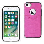 Reiko iPhone 8/ 7 Anti-Slip Texture Protector Cover With Card Slot In Hot Pink