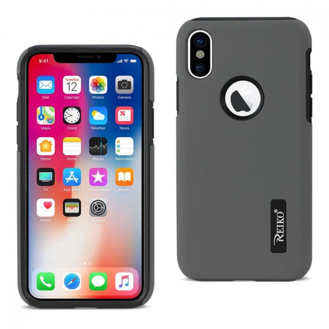 REIKO IPHONE X SOLID ARMOR DUAL LAYER PROTECTIVE CASE IN GRAY