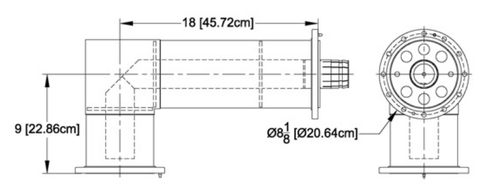 "6-1/8"" 90° Elbow, Unequal Leg Flanged"