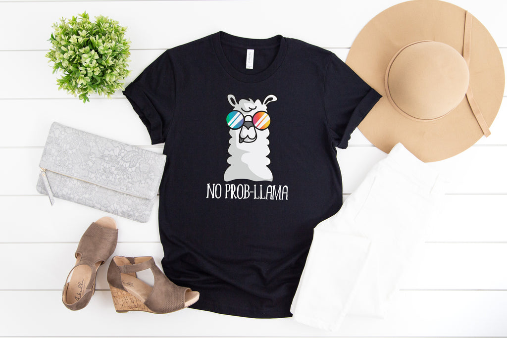 No Prob Llama, No Problem - Cute Funny Cool Llama - Chloe Temtchine Apparel - T-Shirt, Tank Top, V-Neck, Long Sleeve, Sweatshirt, Hoodie, Men & Women