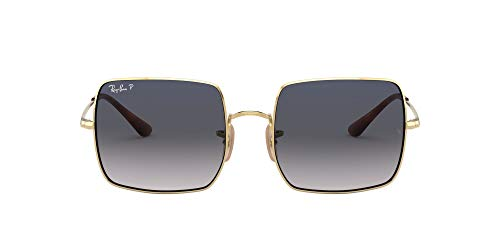 Ray-Ban Women's RB1971 Metal Square Sunglasses, Gold/Blue Gradient Blue Polarized, 54 mm